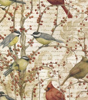 Legacy Studio Cotton Fabric-Winter Birds Vine