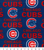 Chicago Cubs MLB Tossed Print Fleece Fabric, , hi-res