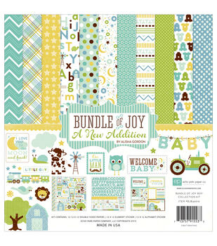 Echo Park Paper Company Bundle Of Joy Baby Boy Scrapbooking Kit