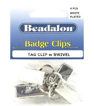 Beadalon Badge Clips W/Swivel-4PK/Silver