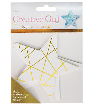 Creative Girl Watercolor Tags Stars Set of 6 Designs