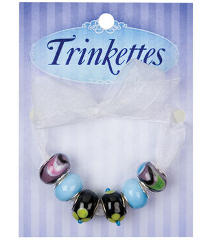 Cousin Cousin Trinkettes Glass & Metal & Clay Beads 6PK-Black & Gold Dots