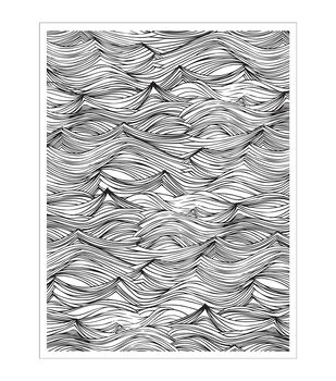 Basic Grey Adrift Wave Background Cling Stamp