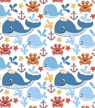 Nursery Cotton Fabric-Sea Buddies