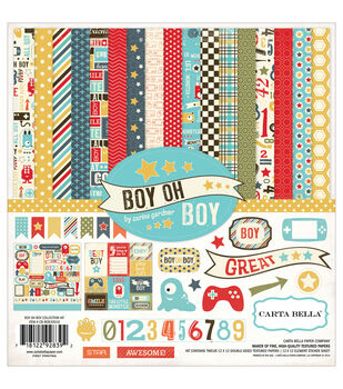"Carta Bella Collection Kit 12""X12""-Boy Oh Boy"