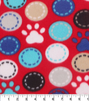 Blizzard Fleece Fabric-Paw Prints And Dots