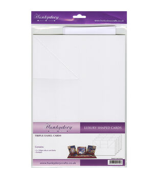 Hunkydory Luxury Silk Art Shaped Cards With Envelopes White Triple Easel