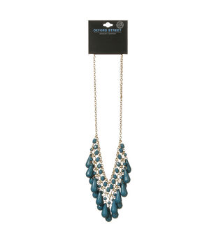 Oxford Street Jewelry Co. Teal Tear Drop Necklace w/Gold Plating