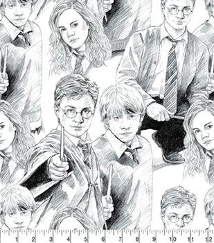 Harry Potter Cotton Fabric- Line Art