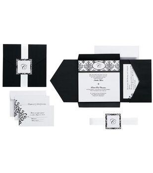 Wilton® 25pk Scroll Monogram Invitation Kit-Black/White