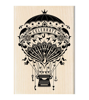 Inkadinkado Mounted Mindscape Hot Air Balloon Rubber Stamp