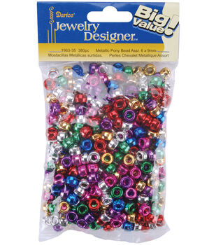 Metallic Pony Beads-Assorted