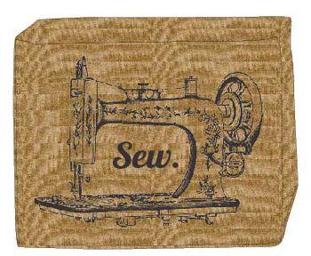 Small Burlap Machine Cover-Sewing Machine Print