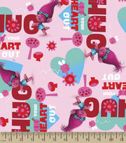 Dreamworks Trolls Hug Your Heart Out Cotton Fabric, , hi-res