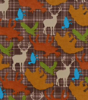 Snuggle Flannel Fabric 43''-Brown Wilderness Animals Tossed