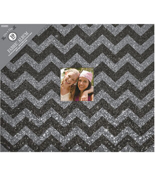 "Colorbok 3 Ring Glitter Album W/Window 12""X12""-Black Chevron"