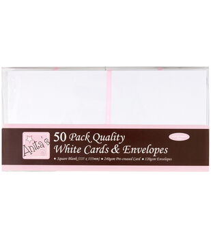 "Anita's Square Cards/Envelopes 5""X5"" 50/Pkg-White"