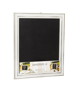 Wood Whitewash Framed Chalkboard with Easel