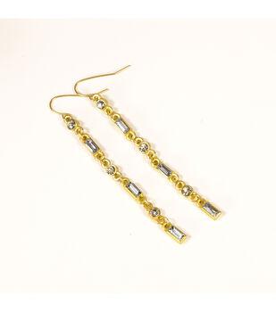 Blue Moon Jewelry Long Gold Rhinestone Dangle Earrings
