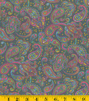 Made in America Cotton Fabric-Bright Paisley Gray, , hi-res