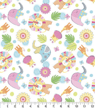 Nursery Flannel Fabric-Jungle Animals