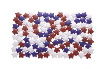 7 x 12mm Opaque Red/White/Blue Star Shaped Beads, 1lb.