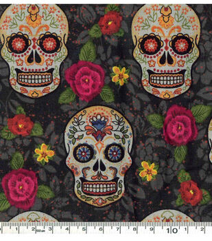 Halloween Cotton Fabric-Sugar Skulls And Flowers