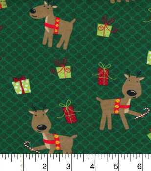 Christmas Flannel Fabric-Reindeer Pals And Presents