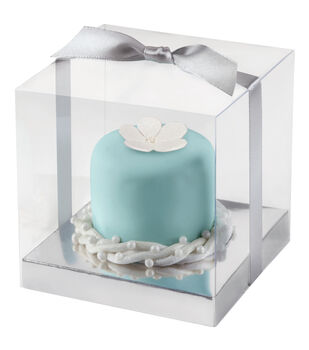 Cupcake Box 20/Pkg-Clear and Silver