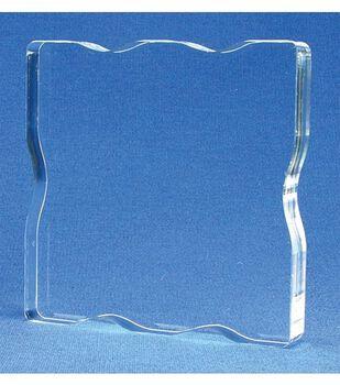 Acrylic Stamp Block W/Grips 3X3-3x3x.5