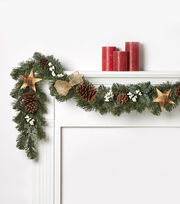 Blooming Holiday 66'' Wooden Star & Pinecone Garland, , hi-res