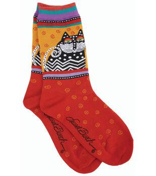 Laurel Burch Socks-Polka Dot Cats-Red