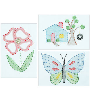 """White Stamped Beginner Embroidery Kit 6""""X8"""" Samplers 3/Pkg-Outside Fun"""