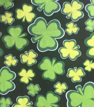 St. Pat's Print Fabric-Tossed Clover Black 5 Fleece