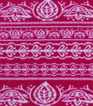 Anti-Pill Fleece Fabric-Pink Bandanna