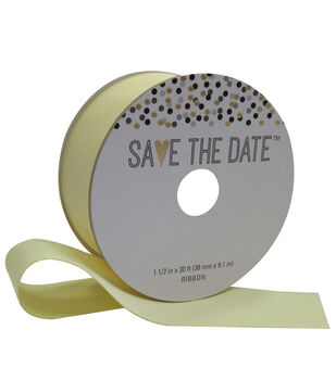 Save the Date 1.5'' X 30' Ribbon-Yellow Grosgrain