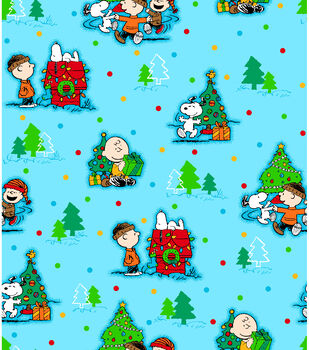 Holiday Inspirations Fabric-Peanuts Christmas Scenic