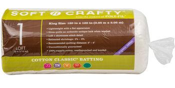 """Fairfield Soft N Crafty Cotton Classic Batting 120""""x120"""""""