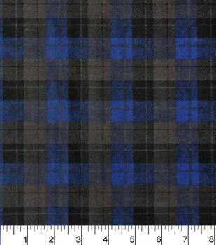 Snuggle Flannel Fabric-Skylar Blue Black Plaid