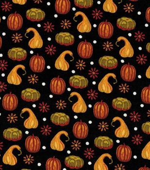 Fall Harvest Cotton Fabric-Autumn Black Gords