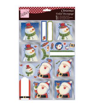 Anita's A4 Foiled Decoupage Sheet-Santa & Snowman