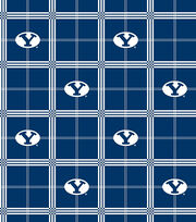 Brigham Young University NCAA Plaid Flannel Fabric, , hi-res
