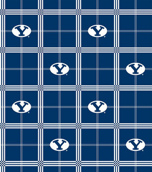 Brigham Young University NCAA Plaid Flannel Fabric