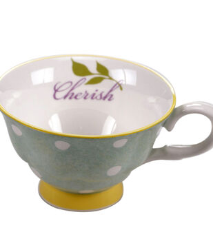 Susan Winget Tea Cup-Green/White Cherish
