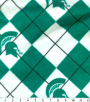 Michigan State University NCAA Argyle Fleece Fabric, , hi-res