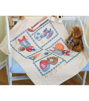 Dimensions Baby Hugs Quilt Stamped Cross Stich Kit Little Sports