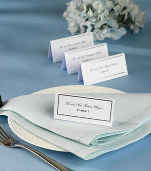 Wilton® 60ct Silver Border Placecards-White