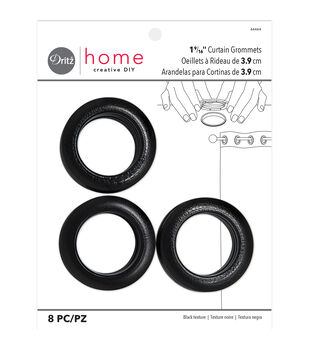 Lg Black Leather-Look 8 Sets Grommets