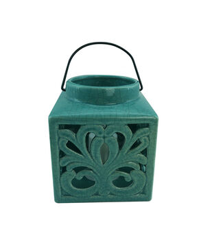 In The Garden Small Squared LED Lantern-Blue