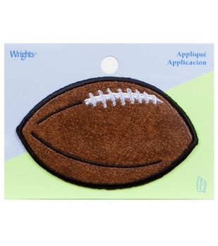 """Wrights Iron-On Appliques-Brown Leather Football 2""""X3-1/4"""" 1/Pkg"""